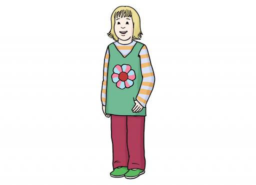Illustriert: Ein Kind mit bunter Kleidung.