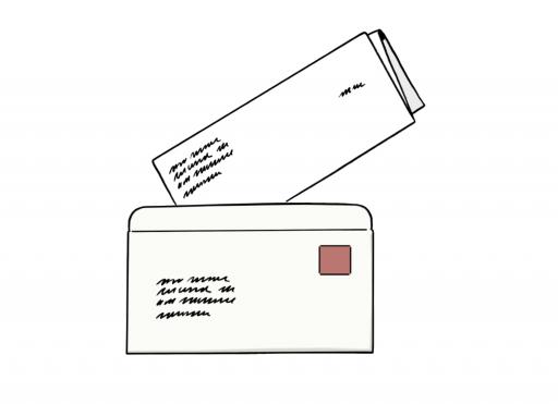 Illustriert: Ein Briefumschlag und ein gefaltetes beschriebenes Blatt