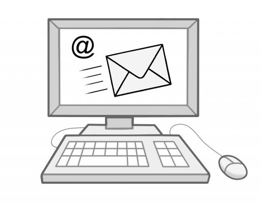 Illustriert: Ein Computer, auf dessen Bildschirm ein fliegender Briefumschlag und ein @-Zeichen abgebildet ist.