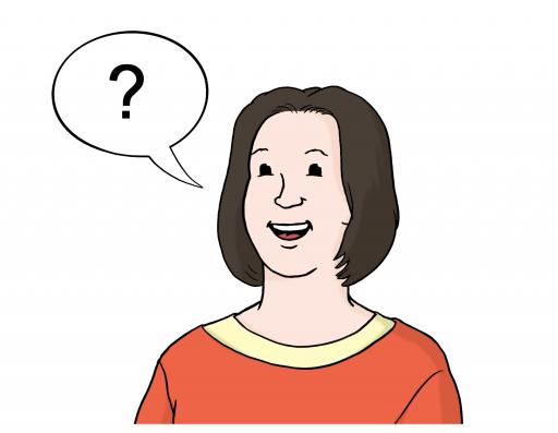 Illustriert: Eine Frau mit einer Sprechblase, in der ein Fragezeichen abgebildet ist