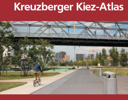 """Das Deckblatt einer Broschüre. Der Titel """"Kreuzberger Kiez-Atlas"""", darunter: """"Nachbarschaft inklusive entdecken"""""""