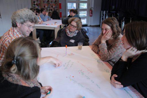 Verschiedene Arbeitsgruppen an Tischen. Vor ihnen ein großes Blatt Papier und bunte Eddings.