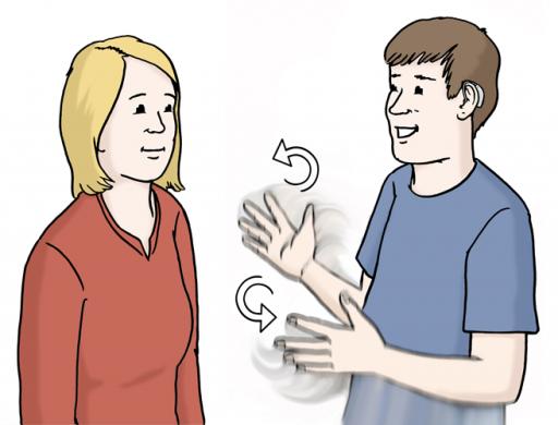 Illustriert: Ein Mann mit Hörgerät gebärdet mit einer Frau.