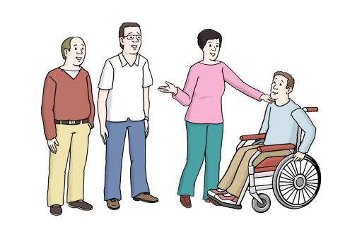 Illustriert: Einige Menschen. Unter ihnen ein Mann im Rollstuhl. Eine Frau hat ihre Hand auf seine Schulter gelegt und macht eine einladende Geste.
