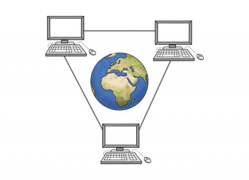 Illustriert: Drei miteinander verbundene Computer und in der Mitte die Welt