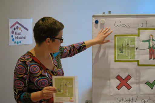 Junge Frau mit kurzen, braunen Haaren, einer Brille und einem bunten Kleid steht vor einer Flipcharttafel. Sie zeigt eine Karte mit einem Lageplan des TÄKS
