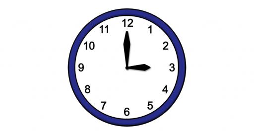 Grafik mit der Uhrzeit: 15:00 Uhr
