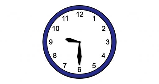 Grafik mit der Uhrzeit: 9:30 Uhr