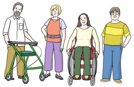 Verschiedene Menschen nebeneinander, einer mit Rollator, eine andere im Rollstuhl