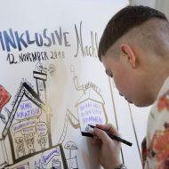 """Ein Graphic Recordings Illustrator zeichnet comichaft. Oben auf dem Plakat in geschwungenen Buchstaben: """"Inklusive Nachbarschaft - 12. November 2018"""""""