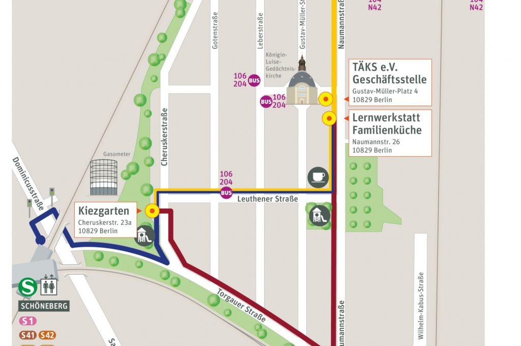 Karte von einem Gebiet in Berlin Schönberg. Bestimmte Standorte sind hervorgehoben.